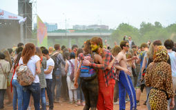 MOSCOW, RUSSIA - MAY 23, 2015: Festival of colors Holi in the Luzhniki Stadium. Roots of this fest are in India, where it called H Royalty Free Stock Image