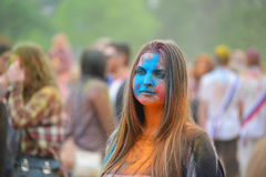 MOSCOW, RUSSIA - MAY 23, 2015: Festival of colors Holi in the Luzhniki Stadium. Roots of this fest are in India, where it called H Royalty Free Stock Photography