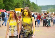 MOSCOW, RUSSIA - MAY 23, 2015: Festival of colors Holi in the Luzhniki Stadium. Roots of this fest are in India, where it called H Stock Photos