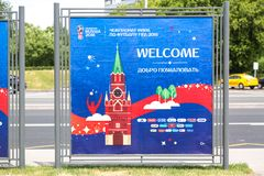 Moscow, Russia - May, 2018: FIFA World cup 2018 banner sign. Russia is World cup 2018 host country. Moscow, Russia - May, 2018: FIFA World cup 2018 banner sign stock image