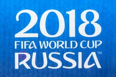 Moscow, Russia - May, 2018: FIFA World cup 2018 banner sign. Russia is World cup 2018 host country. Moscow, Russia - May, 2018: FIFA World cup 2018 banner sign royalty free stock photo