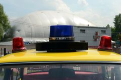 Flashing beacons on the old Soviet police car VAZ 2101. MOSCOW, RUSSIA - MAY 27, 2016: Flashing beacons on the old Soviet police car VAZ 2101 Stock Photography