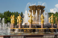 Moscow, Russia - May 30, 2016: Fountain in VDNH park Royalty Free Stock Photography