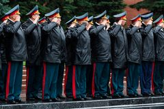 MOSCOW, RUSSIA - MAY 08, 2017: General of the Army VALERY GERASIMOV and Collegium of the MINISTRY of DEFENCE laid a wreath at the. Tomb of the Unknown Soldier Stock Photos