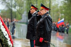 MOSCOW, RUSSIA - MAY 08, 2017: General of the Army VALERY GERASIMOV and Collegium of the MINISTRY of DEFENCE laid a wreath at the. MOSCOW, RUSSIA - MAY 08, 2017 Royalty Free Stock Photography