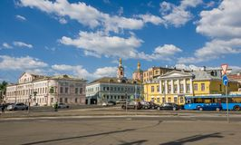 Moscow, Russia - May 12, 2018. General view of Yauzskaya Street is one of oldest streets of city Royalty Free Stock Photo