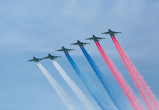 Moscow, Russia - May 9, 2015: A group of aircraft in-flight smoke Royalty Free Stock Photos