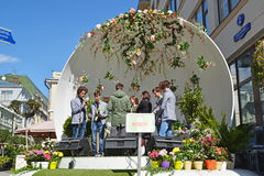 Moscow, Russia - may 06.2017. Group Rec.Time at festival acappella Moscow Spring on Street Kuznetsk bridge. Moscow, Russia - may 06.2017. Group Rec.Time at Stock Image