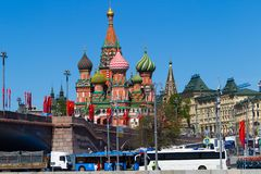 Moscow, Russia, May 9, holiday, Red Square, Vasilyevsky Descent and the Cathedral of Christ the Savior from the embankment. stock photography