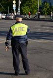 Inspector of the road police patrol in the center of Moscow. Stock Image