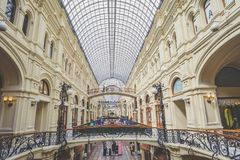 GUM department store, Moscow, Russia. MOSCOW, RUSSIA - MAY 10, 2017: Interior of the GUM department store Stock Images
