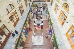 GUM department store, Moscow, Russia. MOSCOW, RUSSIA - MAY 10, 2017: Interior of the GUM department store Stock Image