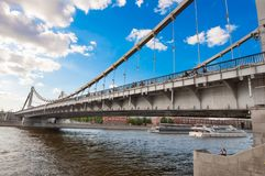 Krymsky Bridge or Crimean Bridge in Moscow downtown during midday, Russia. stock images