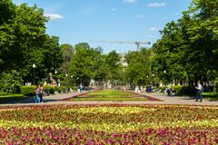 Moscow, Russia - May 14. 2016. Large flower bed on Bolotnaya Square. Moscow, Russia - May 14. 2016. Large flower bed on a Bolotnaya Square stock photo