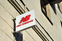 Logo on New Balance flagship store. MOSCOW, RUSSIA - MAY 02: Logo of New Balance flagship store, Moscow on May 2, 2018. Tverskaya is the most popular shopping Stock Photos