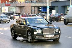 Bentley Mulsanne. Moscow, Russia - May 2, 2018: Luxury motor car Bentley Mulsanne in the city street Stock Image