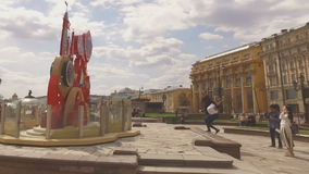 MOSCOW, RUSSIA - 1 May , 2016:  Manezh Square cityscape overlooking stock video