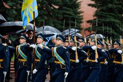 MOSCOW, RUSSIA - MAY 08, 2017: March-past parade of the The Honor Guard of the 154 Preobrazhensky Regiment. Rainy weather. Alexa. MOSCOW, RUSSIA - MAY 08, 2017 Stock Photo