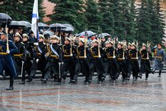 MOSCOW, RUSSIA - MAY 08, 2017: March-past parade of the The Honor Guard of the 154 Preobrazhensky Regiment. Rainy weather. Alexa. MOSCOW, RUSSIA - MAY 08, 2017 Royalty Free Stock Photo
