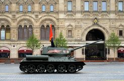 Medium tank T-34-85 on Red Square during the parade dedicated to the 74th anniversary of the Victory in the Great Patriotic War stock images