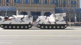 MOSCOW, RUSSIA MAY 07 2017 Military equipment moving on Tverskaya Street. Arctic military equipment. stock video footage