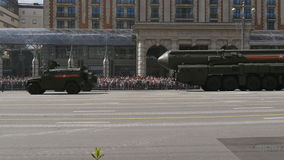 MOSCOW, RUSSIA MAY 07 2016 Military equipment moving on Tverskaya Street. stock video