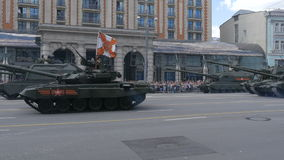 MOSCOW, RUSSIA MAY 07 2016 Military equipment moving on Tverskaya Street stock video footage