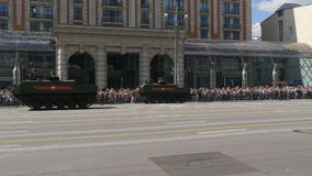 MOSCOW, RUSSIA MAY 07 2016 Military equipment moving on Tverskaya Street. stock video footage