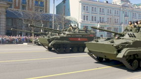 MOSCOW, RUSSIA MAY 07 2017 Military equipment moving on Tverskaya Street. stock video footage