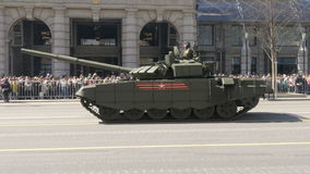 MOSCOW, RUSSIA MAY 07 2017 military equipment moving on Tverskaya Street. stock video