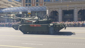 MOSCOW, RUSSIA MAY 07 2017 Military equipment moving on Tverskaya Street. stock footage