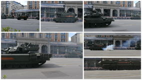 MOSCOW, RUSSIA MAY 07 2016 Military equipment on Tverskaya street. collage stock video