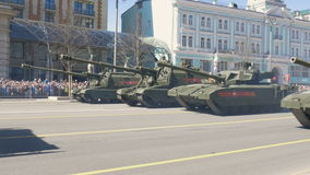 MOSCOW, RUSSIA MAY 07 2017 Military equipment on Tverskaya street. stock video footage