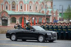The Minister of defence of Russia Sergey Shoigu, the parade devoted to the Victory Day,. MOSCOW, RUSSIA - MAY 9, 2019: The Minister of defence of Russia Sergey stock photo