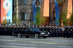 The Minister of defence of Russia Sergey Shoigu, the parade devoted to the Victory Day. MOSCOW, RUSSIA - MAY 9, 2018: The Minister of defence of Russia Sergey Stock Photo