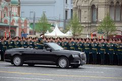 The Minister of defence of Russia Sergey Shoigu, the parade devoted to the Victory Day,. MOSCOW, RUSSIA - MAY 9, 2019: The Minister of defence of Russia Sergey royalty free stock photography