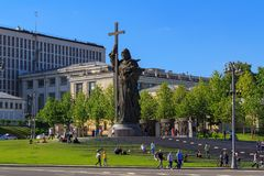 Moscow, Russia - May 27, 2018: Monument to Prince Vladimir on Borovitskaya square in sunny evening stock photography