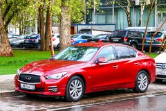 Infiniti Q50. Moscow, Russia - May 2, 2018: Motor car Infiniti Q50 in the city street Royalty Free Stock Photos