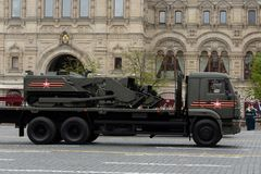 Multifunctional robotic complex mine `Uranium-6` on red square during the rehearsal of the Victory parade. MOSCOW, RUSSIA MAY 6, 2018: Multifunctional robotic stock photography