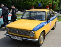 Old Soviet car VAZ 2101 in the version of the police car. MOSCOW, RUSSIA - MAY 27, 2016: Old Soviet car VAZ 2101 in the version of the police car Royalty Free Stock Photography