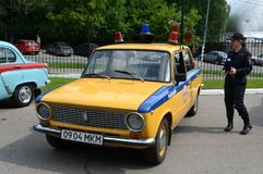 Old Soviet car VAZ 2101 in the version of the police car. MOSCOW, RUSSIA - MAY 27, 2016: Old Soviet car VAZ 2101 in the version of the police car Royalty Free Stock Photos