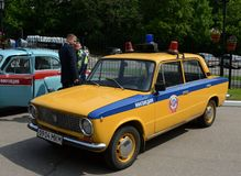 Old Soviet car VAZ 2101 in the version of the police car. MOSCOW, RUSSIA - MAY 27, 2016: Old Soviet car VAZ 2101 in the version of the police car Stock Photos