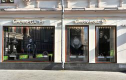 Omega flagship store in Kuznetskiy most, Moscow. MOSCOW, RUSSIA - MAY 02: Omega flagship store in Kuznetskiy most, Moscow on May 2, 2018 Stock Image
