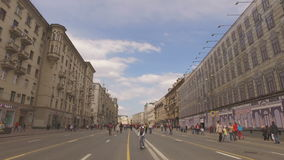 MOSCOW, RUSSIA - 1 May , 2016:  - Pedestrianized Tverskaya Street street in the spring morning. Road blocked stock footage
