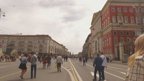 MOSCOW, RUSSIA - 1 May , 2016:  - Pedestrianized Tverskaya Street street in the spring morning. Road blocked stock video footage