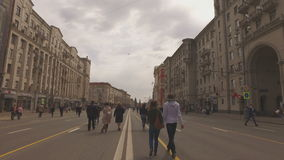 MOSCOW, RUSSIA - 1 May , 2016:  - Pedestrianized Tverskaya Street street in the spring morning. Road blocked stock video