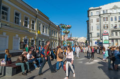 Moscow, Russia -may 14.2016. People at the festival Moscow spring in Klimentovsky Lane Stock Photos