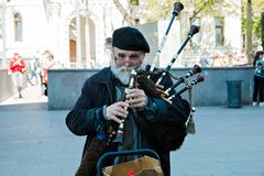 Moscow,Russia, May 9, 2018: portrait of a man playing the bagpipe royalty free stock photos