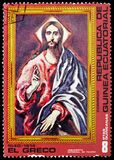Christ, Paintings by El Greco serie, circa 1976. MOSCOW, RUSSIA - MAY 25, 2019: Postage stamp printed in Equatorial Guinea shows Christ, Paintings by El Greco royalty free stock image