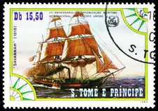 Savannah 1818, International Maritime Organization serie, circa 1984. MOSCOW, RUSSIA - MAY 25, 2019: Postage stamp printed in Sao Tome and Principe shows royalty free stock image